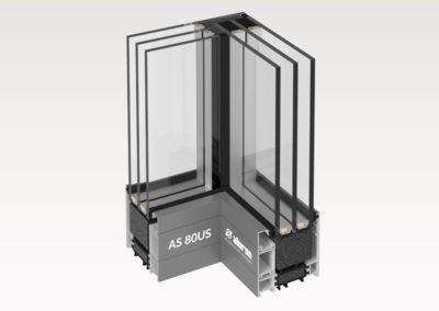 Wizualizacja 3D - Naroże całoszklane kąt prosty